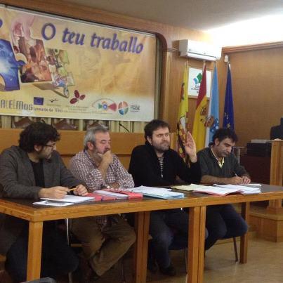 Juan Fajardo, Manolo Puxeiros, Rubén Pérez e Jose Cuevas no acto en Mos